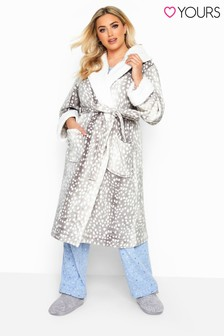 Yours Curve Spot Hooded Robe