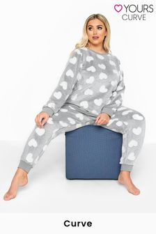 Yours Curve Clipped Heart Fleece Loungewear Set
