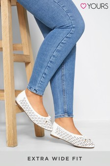 Yours Extra Wide Fit Laser Cut Ballerina Pumps