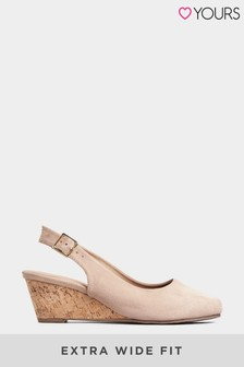 Yours Curve Bijoux Cork Wedge Slingback