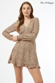 Miss Selfridge Long Sleeve Fit And Flare Dress