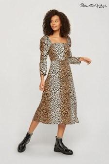 Miss Selfridge Animal Square Neck Midi Dress