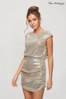Miss Selfridge Sleeveless Metallic Drape Mini Dress