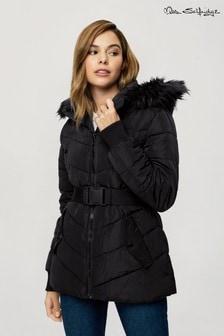 Miss Selfridge Hooded Belt Padded jacket