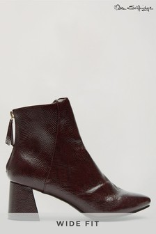 Miss Selfridge Wide Fit Bricks Square Toe Flared Block Heel Boot