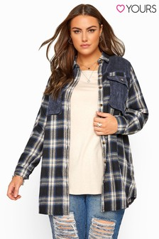 Yours Curve Cord Check Shirt