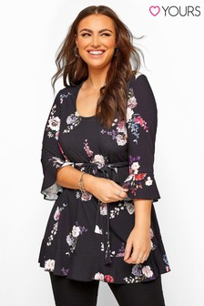 Yours Curve London Floral Frill Belted Top