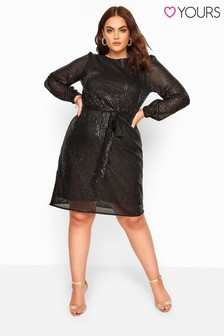 Yours Curve Sequin Balloon Sleeve Dress