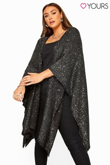 Yours Curve Sequin Embellished Knitted Cape