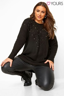 Yours Curve Studded Chevron Knitted Jumper