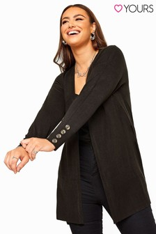 Yours Curve Horn Button Cuff Knitted Cardigan