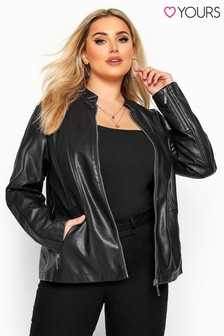 Yours Curve Collarless PU Jacket