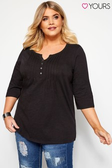 Yours Curve Three-Quarter Sleeve Henley Top