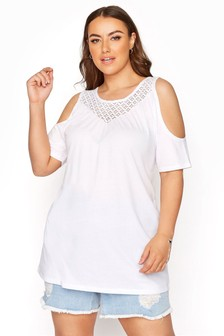 Yours Curve Solid Lace Yoke Cold Shoulder Top