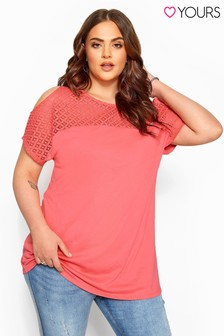 Yours Curve Solid Lace Cold Shoulder Top