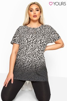 Yours Curve Grown Sleeve Slogan Laser Cut Top