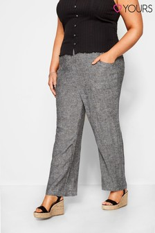 Yours Curve Cross Hatch Linen Wide leg Trouser