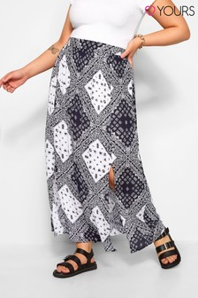 Yours Curve Crinkle Tile Split Maxi Skirt