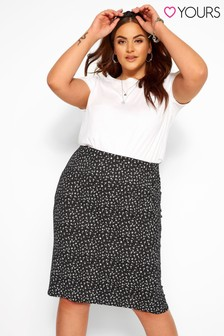 Yours Curve Ditsy Spot Tube Skirt