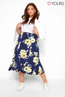 Yours Curve Floral Midi Skirt