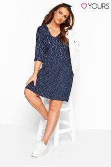 Yours Curve Polka Dot Drop Ruched Dress