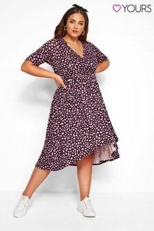 Yours Curve Animal Wrap Hi-Low Dress
