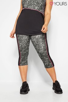 Yours Curve Crop Animal Print Panelled Leggings