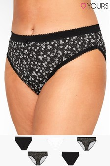 Yours Curve Daisy Hi Leg Briefs - Pack Of 5