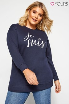 Yours Curve Slogan Sweatshirt