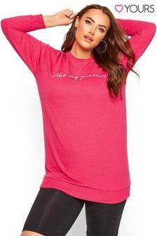 Yours Curve Slogan Sweatshirt
