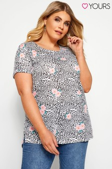 Yours Curve Animal Floral Pocket Tee