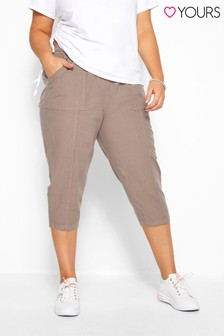 Yours Curve Cool Cotton Crop Latte Trouser