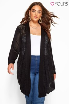 Yours Curve Pointelle Waterfall Cardigan