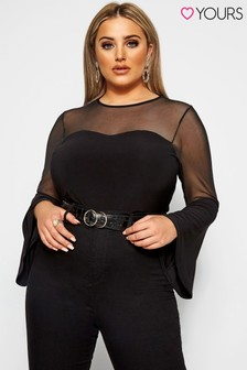 Yours Curve Mesh Sweetheart Flare Sleeve Top