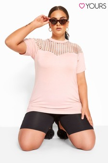 Yours Curve Large Fishnet Hole Tee