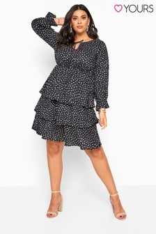 Yours Curve Tired Tie Neck Tunic Dress