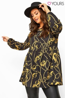 Yours Curve Chain Print Balloon Sleeve Smock Tunic