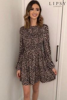 Lipsy Shirred Skater Dress
