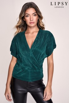 Lipsy Textured Wrap Top