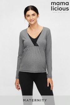 Mamalicious Maternity Lace Detail Wrap Ribbed Top