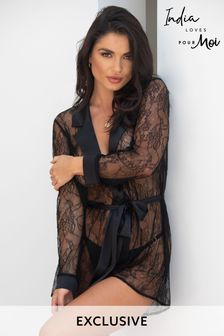 Pour Moi Long Sleeve Tie Waist Lace Robe