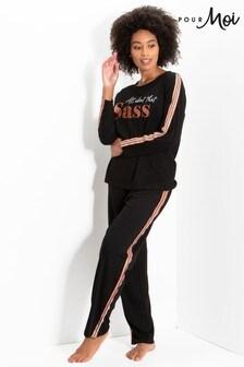 Pour Moi Jersey Cotton Slogan Pyjama Set
