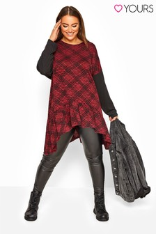 Yours Curve Check Frill Hanky Hem Top