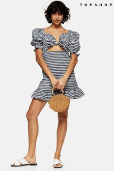 Topshop Gingham Tie Front Mini Dress