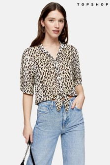 Topshop Animal Knot Front Shirt