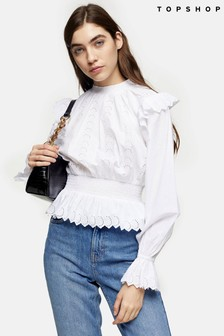 Topshop Shirred Broderie Long Sleeve Blouse