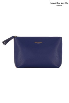 Fenella Smith Navy Vegan Leather Tassled Washbag