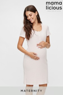 Mamalicious Maternity Nursing Stripe Night T-Shirt Dress