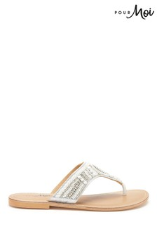 Pour Moi Embellished Leather Flip Flop