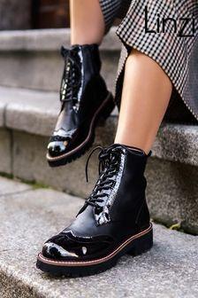 Linzi Jess Patent & Nappa Brogue Style Lace Up Military Boot